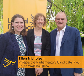 South West Wiltshire Prospective Parliamentary Candidate - Ellen Nicholson with Liberal Democrat Leader, Jo Swinson and Deputy Leader Ed Davey